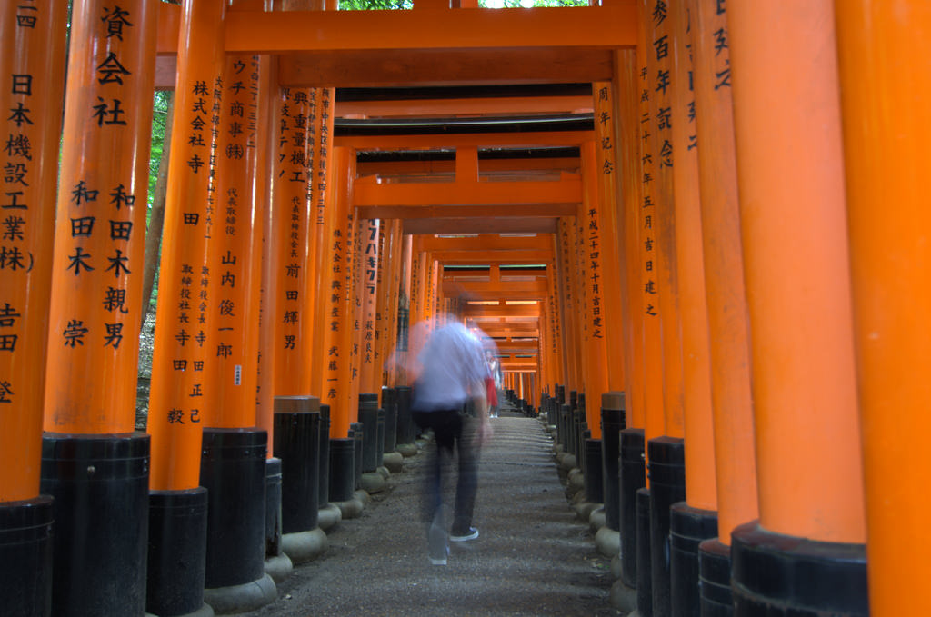 Person walking the Fushimi Inari Shrine