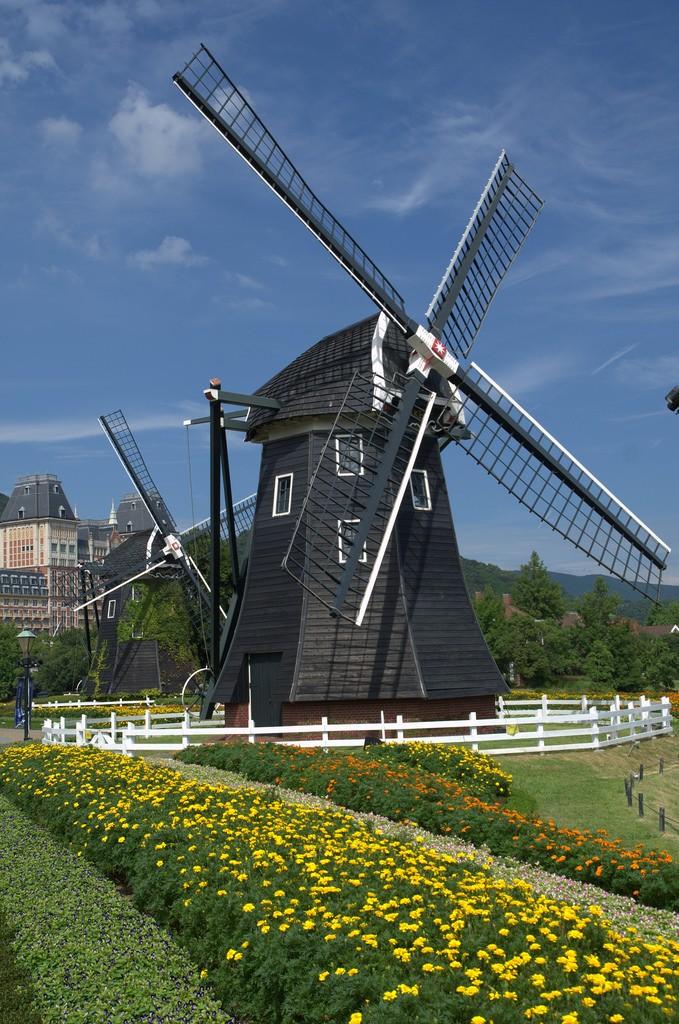 Dutch windmills Kinderdijk in Huis ten Bosch Japan