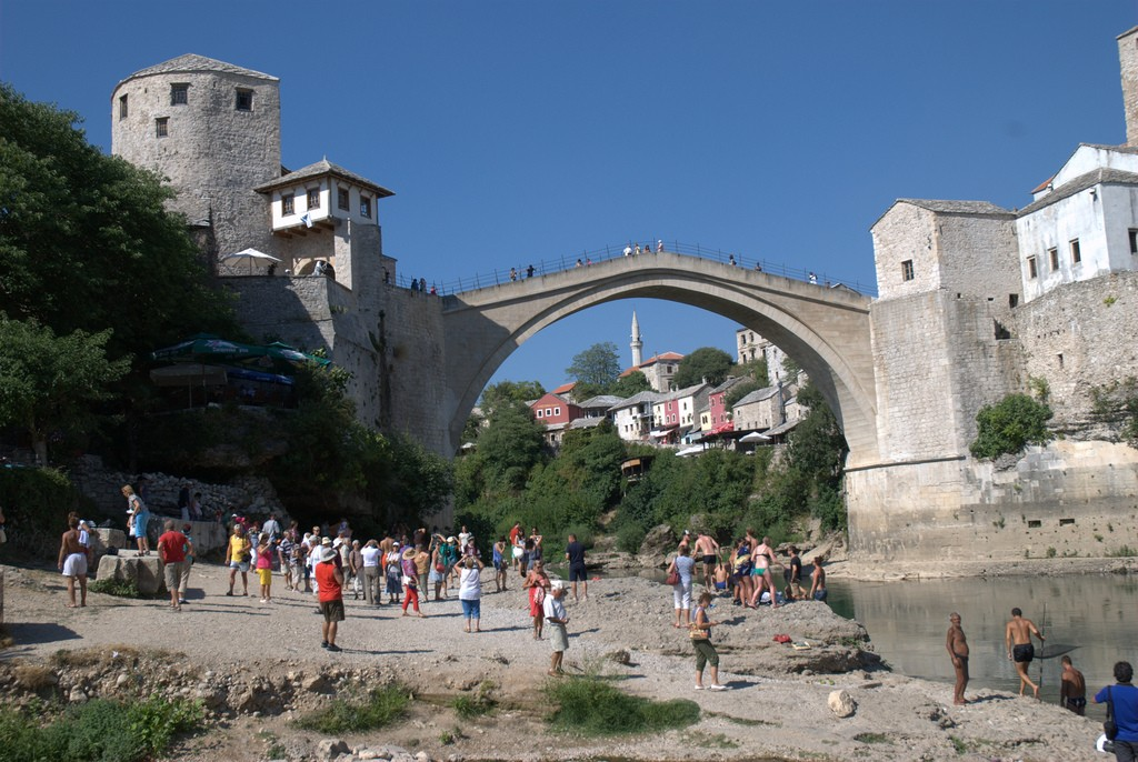 'Beach' in front of Mostar bridge