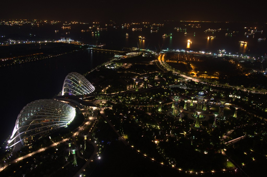 View from the Marina Bay Sands by night