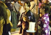 Girls in Kimono waiting during Floating Lantern Festival Tokyo