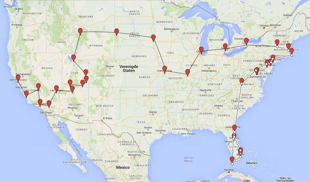 Drie maanden amerika route