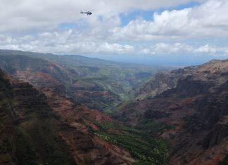 Helicopter door Waimea Canyon Hawaii