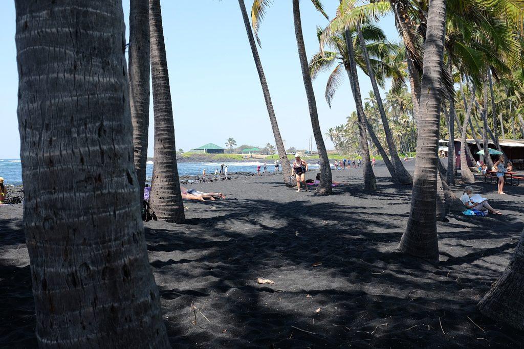 Palmbomen op zwart zand Hawaii