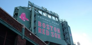 Honkbalwedstrijd Amerika bezoeken Fenway Park Boston Red Sox