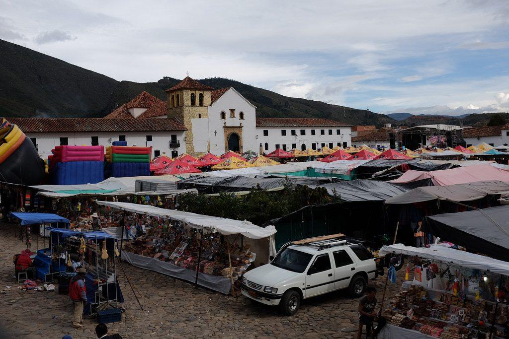Plaza Mayor Villa de Leyva tijdens festival