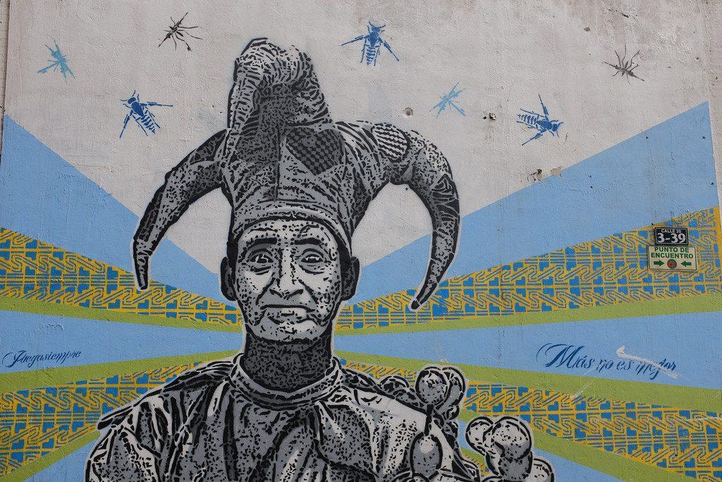 Bogota graffiti tour - Man met gekke muts
