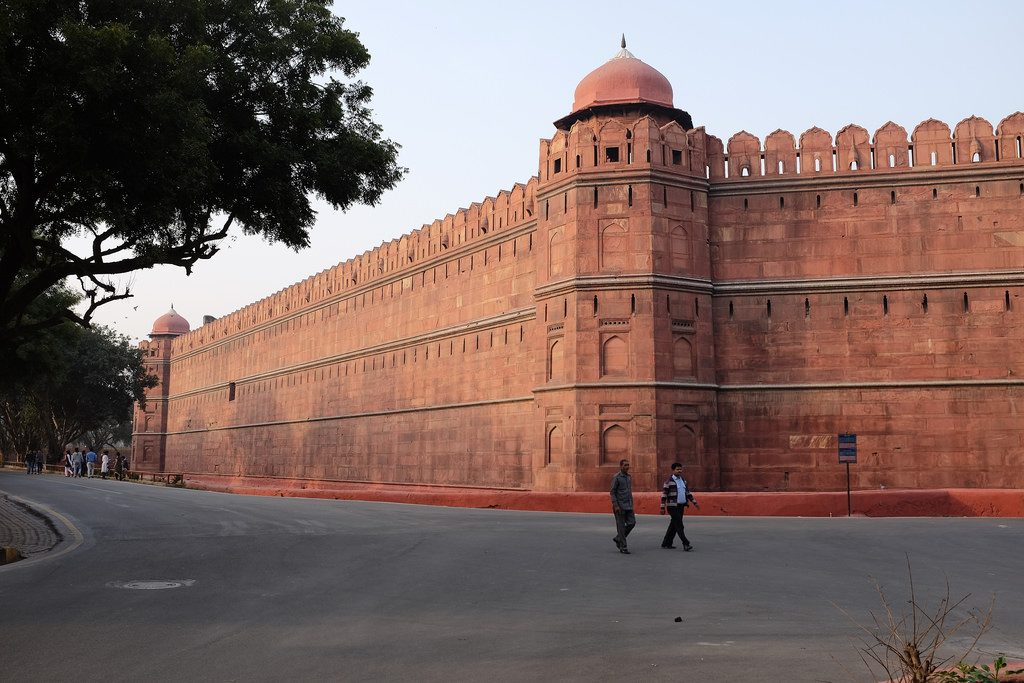 Rode Fort muren bezienswaardigheid New Delhi