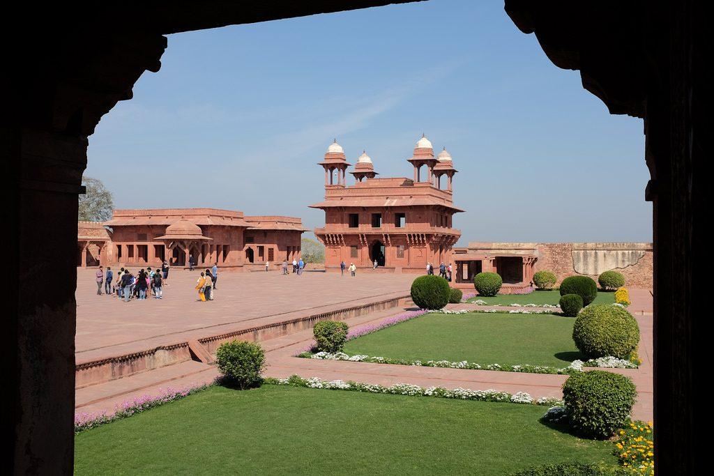 Fatehpur Sikri overzicht gebouwen Noord-India