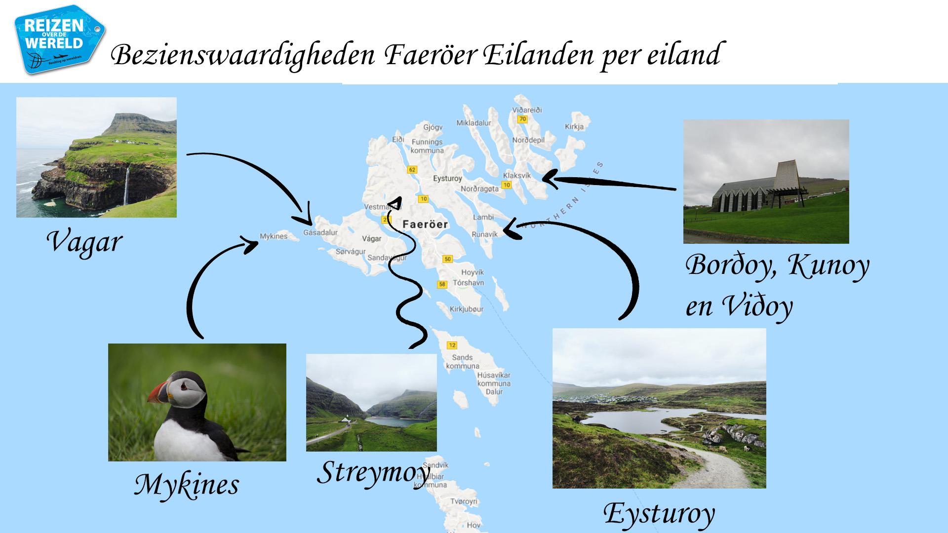 bezienswaardigheden Faeroer Eilanden hoogtepunten per eiland