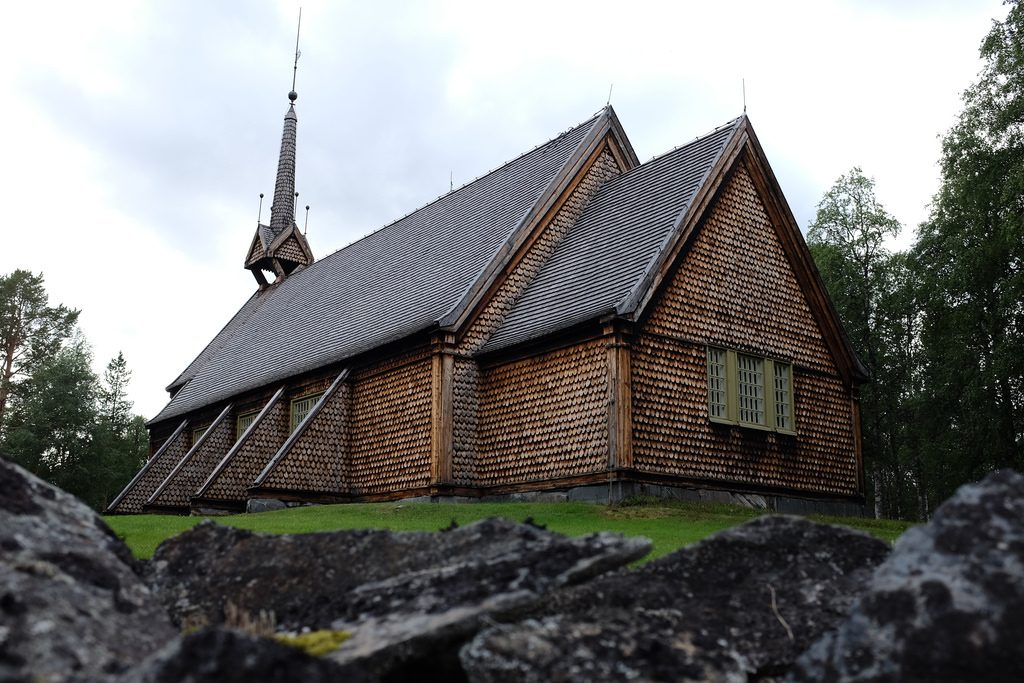 Kerk Ammernas Grodkällan Cold Spring Zweeds Lapland zomer