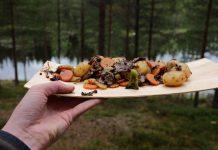 Maaltijd in de natuur Zweeds Lapland