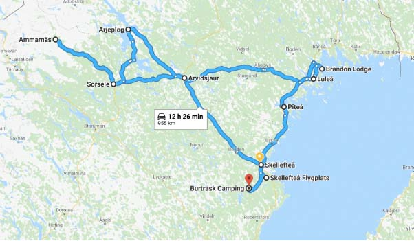 Reisroute Zweeds Lapland zomer