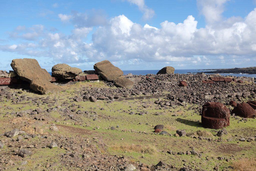 Vaihu gevallen paasbeelden Moai op Paaseiland