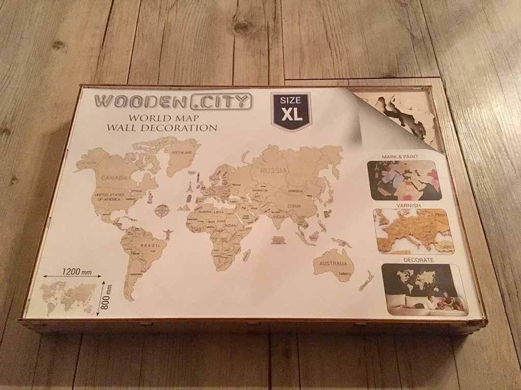 Woodmap XL kaart doos houten wereldkaart