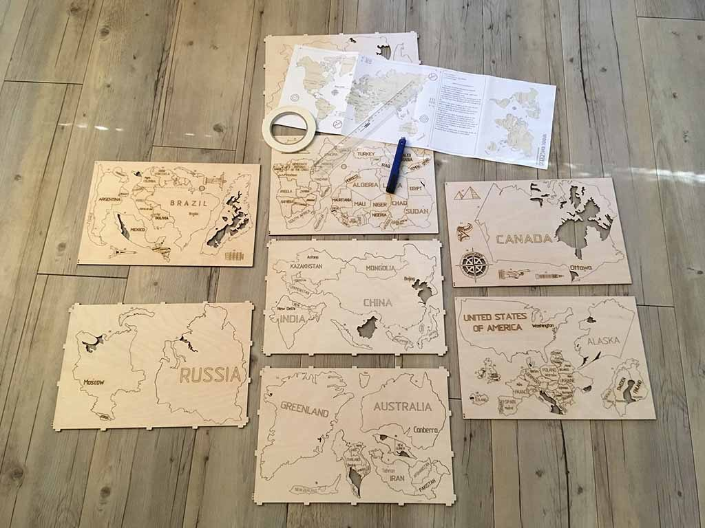 wereldkaart op hout reisgadget kaarten