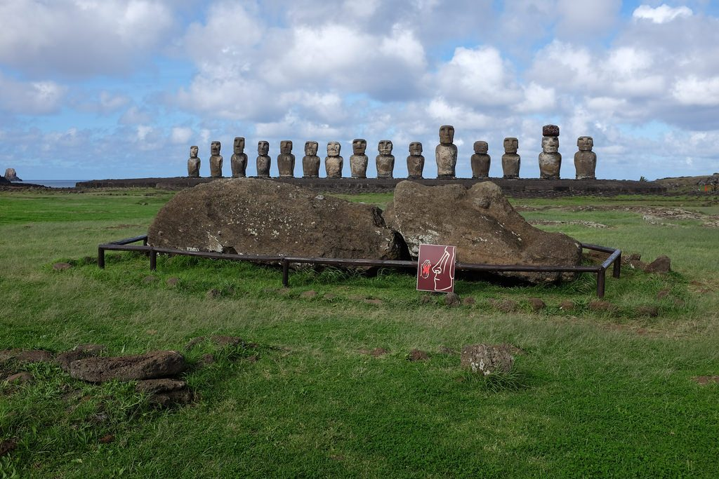 Ahu Tongariki met grote Moai ervoor Paaseiland