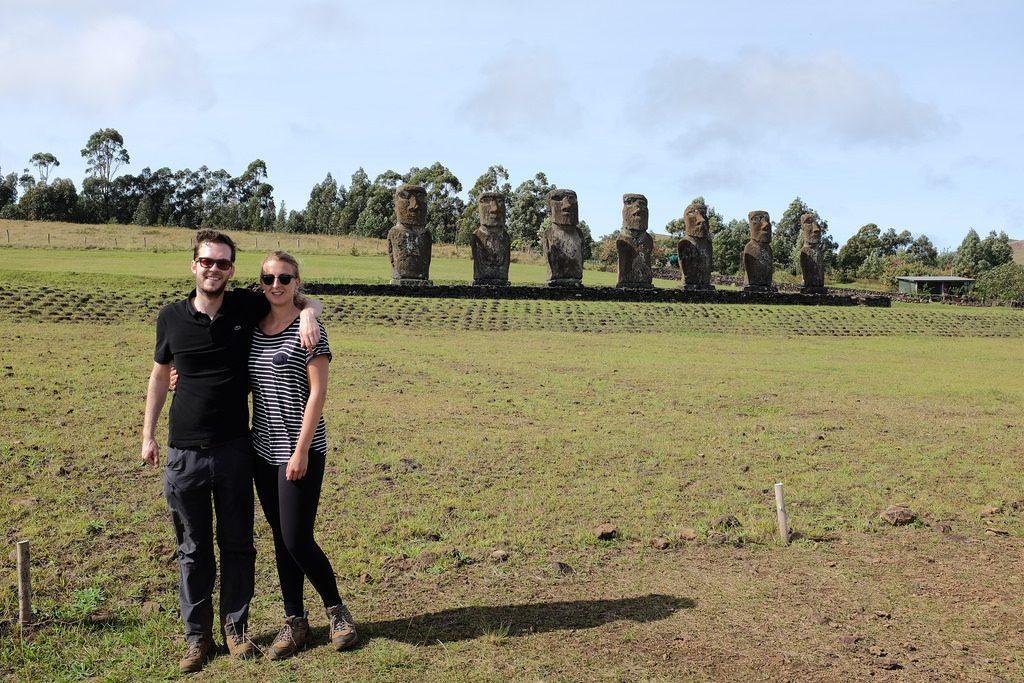 Reizen over de Wereld bij Ahu Akivi Paaseiland