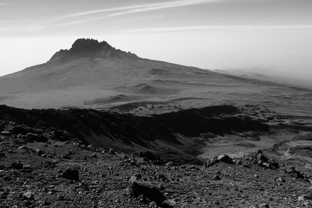 Kilimanjaro in Tanzania zwartwit-foto