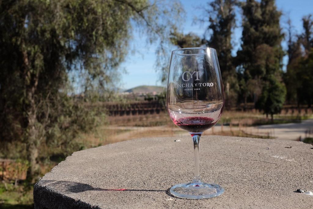 Rode wijn drinken bij Concha y Toro wijnregio Chili